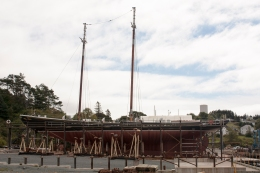 Bluenose II in dry dock, Lunenburg, Nova Scotia (Source - Robert Brown)