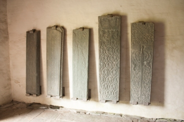 Gravestones preserved from the grave yard of the kings (Source - Robert Brown)